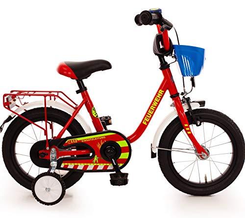 Unbekannt Kinderfahrrad 14 Zoll mit Stützräder und Rücktrittbremse Jungen Mädchen Fahrrad für Kinder ab 3 Jahren deutsche Feuerwehr Feuerwehrfahrrad Feuerwehrmann