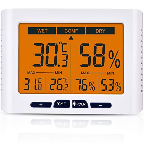 Diyife Hygromètre Thermomètre, 4,3 Pouces écran Intérieur Température et D'humidité Indicateur avec LCD Écran...