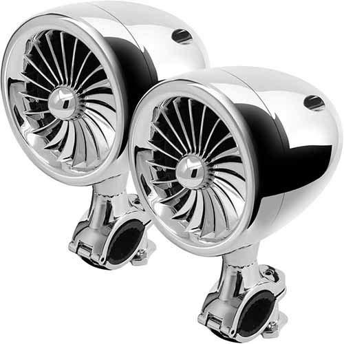 Motorfiets Bluetooth motorfiets, ATV, audio-luidspreker, stereo-versterker voor FM-radio en kabel Wit.