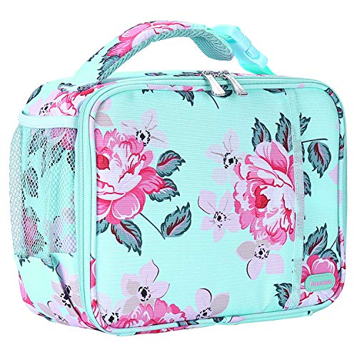 Kids Lunch Box with Supper Padded Inner Keep Food Cold Warm for Longer Time,Amersun Leak-proof Solid Insulated School Lunch Bag with Multi-Pocket for Teen Boys Girls,CPC Certified,Light Blue Peony