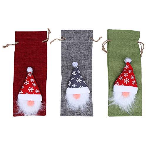 Bolsas de cubierta de botella de vino de Navidad, 3 piezas/juego de vajilla de Papá Noel Lindos regalos de Navidad para decoraciones de manualidades de fiesta de cumpleaños