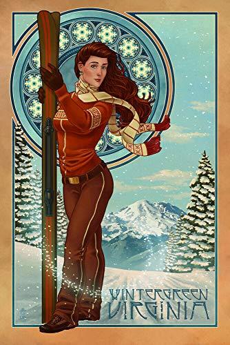 YelenaSign Blechschild Wintergrün Virginia Jugendstil Skifahrer Retro Metallschild Aluminium...