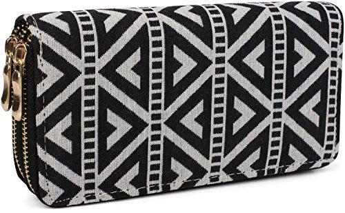 styleBREAKER Geldbörse im Ethno Look mit Azteken Muster, Boho Style, Reißverschluss, Portemonnaie, Damen 02040050, Farbe:Schwarz-Weiß