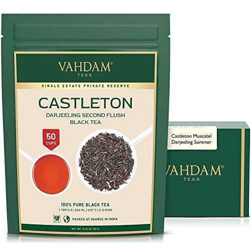 VAHDAM, Castleton Muscatel Darjeeling Second Flush Black Tea 2021 | 3.53oz/100g, Pure 100% Unblended Darjeeling Black Tea Loose Leaf | Single Estate Tea | Fresh Harvest | Makes 50+ Cups