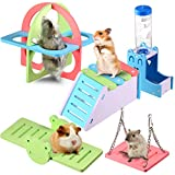 Hamster House DIY Wooden Gerbil Hideout, Rainbow Hamster Toys, Hamster Ladder Exercise Toys, Swing, Plastic Seesaw, Fitness Circle and Wooden Drinking Rack for Small Animals Habitat, 5 Pieces in Total