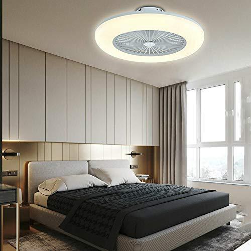Ventilador de techo LED de 22 pulgadas, moderno, invisible, lámpara de techo regulable, silenciosa, con mando a distancia para comedor, salón, dormitorio