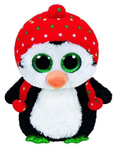 Carletto Ty TY36950 Pinguin mit Mütze und Glitzeraugen, schwarz/Weiss