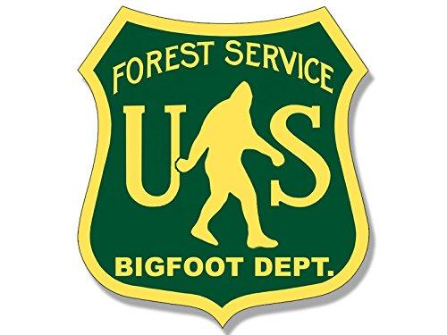 American Vinyl US Forest Service Bigfoot DEPT Sticker (Funny Sasquatch Hunter Big Green)