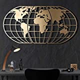 Tubibu Modern Wall Art, 100% Metal - Metalic WORLD MAP GLOBE , Size (23.6' x 47.2') - Wall Hanging for Living Room, Bedroom, Dorm (Gold)