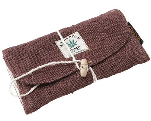 GURU SHOP Sacchetto per Tabacco in Canapa, Sacchetto per Tabacco, Sacchetto Girevole - Marrone Scuro, Unisex - Adulti, Size:One Size, 10x18 cm, Astucci per Matite Sacchetti di Tabacco