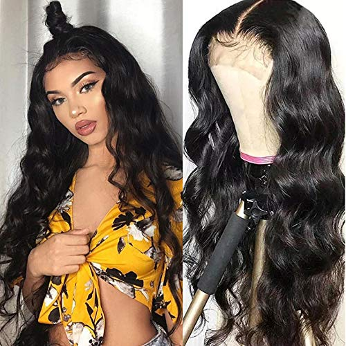 TUNEFUL 4x4 Lace Closure Wigs Human Hair Body Wave Lace Front Wigs for Black Women Brazilian Virgin Human Hair 150% Density Pre Plucked with Baby Hair (18 Inch, Middle Part Closure Wigs)