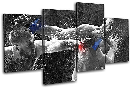 Bold Bloc Design - Conor McGregor Nate Diaz UFC MMA Sports 120x68cm Multi Canvas Art Print Box Framed Picture Wall Hanging - Hand Made in The UK - Framed and Ready to Hang