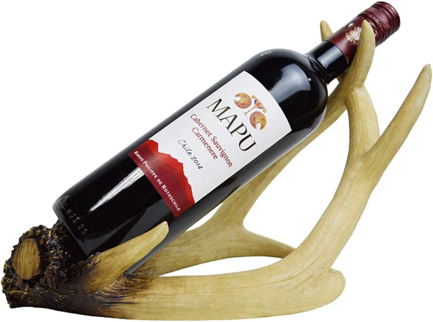 MXD Wine Rack Simple American Restaurant Personality Antler Red Wine Rack Creative Wine Bottle Rack Home Accessories Display Stand (color   Wood color)