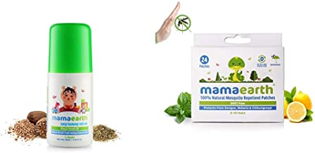 Mamaearth Easy Tummy Roll On for Digestion & Colic Relief with Hing & Fennel 40Ml & Mamaearth Natural Repellent Mosquito Patches for Babies, 24 Patches