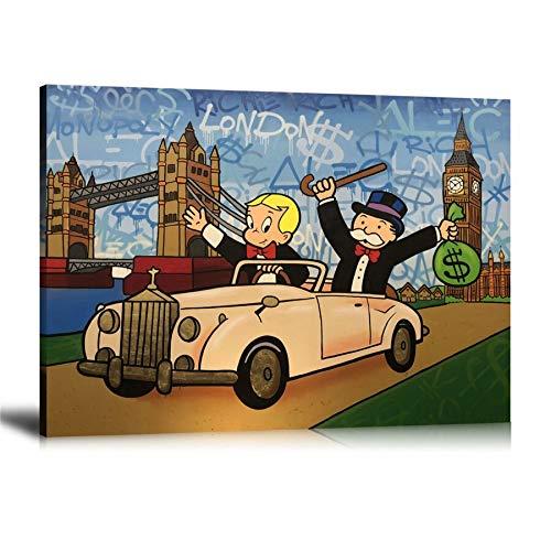 wZUN Decoración para el hogar Cartel de Graffiti Imagen Arte de la Pared Lienzo impresión Rica Pintura de Dinero 60x80 Sin Marco