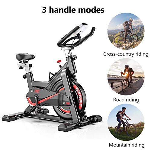 Tribesigns Bicicleta estática con medidor de frecuencia cardíaca, pantalla LCD, sensores de pulso, bicicleta de spinning muy silenciosa para el hogar / fitness
