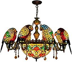 Stained Glass lamp, European Retro Chandelier Coloured 8 Parrot Bird Villa Living Room Dining Room Bedroom bar Stained Gla...