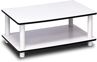 Furinno 11172 Just 2-Tier No Tools Coffee Table, White w/White Tube
