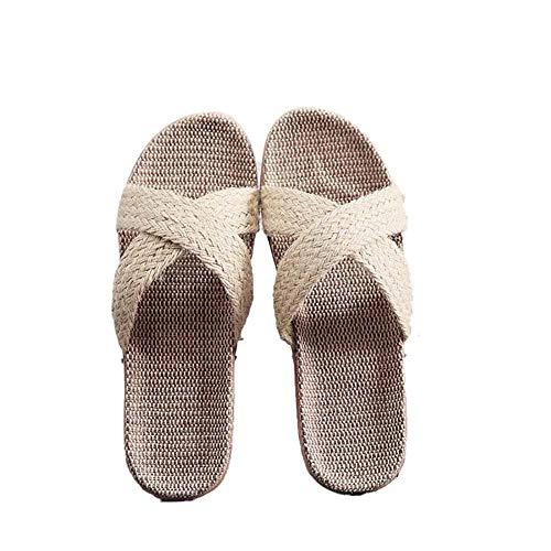 Hosaire 1X Pantofole di Lino Pantofole da Uomo da Donna in Cotone Beige