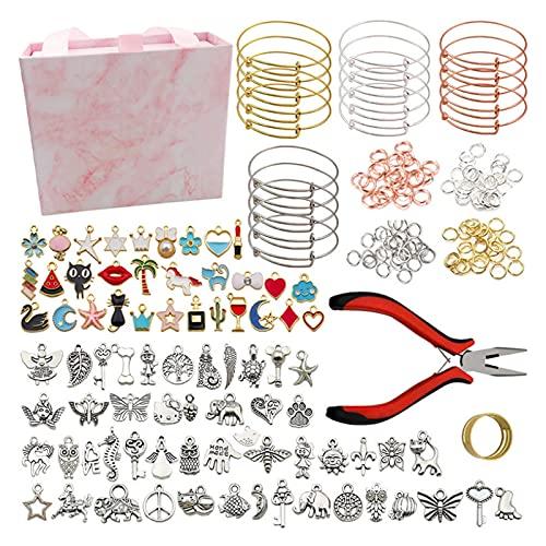 GYAM Joyería Making Supplies Kit Pulseras DIY Fabricación, Hallazgos De Encantos, Alicates De Joyería, Cable De Cuentas para Collar Pendientes Pendientes Making & Reparación Regalo para Mujeres