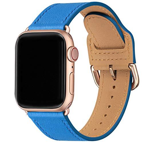 Correa MNBVCXZ compatible con Apple Watch de 38 mm, 40 mm, 42 mm, 44 mm, correa de repuesto de piel auténtica, varias bandas de colores para iwatch Series 5/4/3/2/1 (38 mm 40 mm, Surf azul/Rosegold)