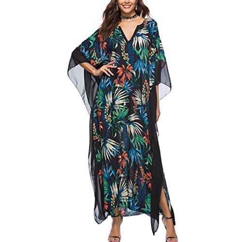 JLTPH Mujeres Vestido Largo Cuello V Manga de Murciélago Floral Impreso Kaftan Túnica Kimono Baggy Boho Maxi Vestido para Playa Fiesta Coctel Traje de Playa