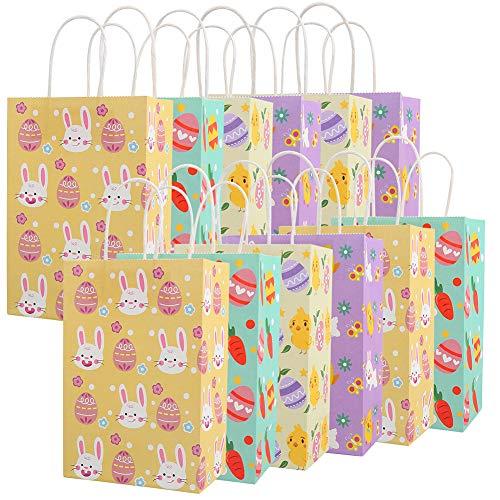 12PCS Easter Gift Bags,Bunny Kraft
