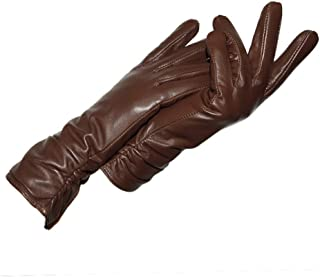 Ladies Leather Touch Screen Gloves Womens Winter Gloves Soft Warm Velvety Lining Gloves with Fold Decoration (Brown)