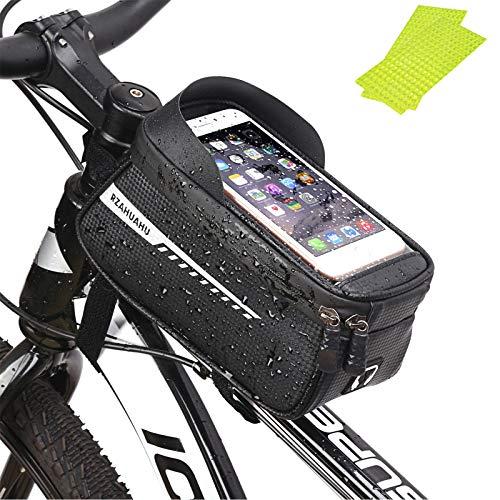 Q-WOOFF Borsa Bici - Porta Cellulare Da Bici , Porta Cellulare Da Bici Con Visiera Parasole Impermeabile ,Grande Capacità , Adatto Per Smartphone Sotto i 6,5 Pollici