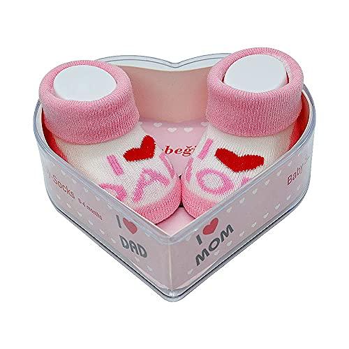 Neugeborene Babysocken 0-4 Monate Baby-Mädchen | Perfekter Geschenk für Neugeborene Babys & Babyshowers | schadstoffgeprüft OEKO-TEX® (Rosa - I Love You Dad & Mom)