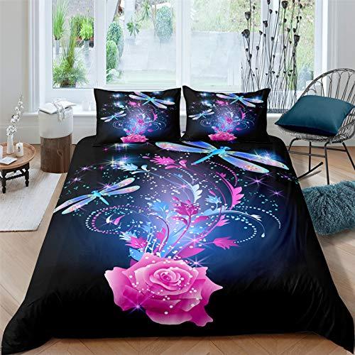 Kelli Kelly Blue Butterfly Duvet Cover Queen Size,Fantasy Butterfly Pink Flowers Bedding Set,Soft Microfiber Bright Comforter Set,Girls Kids Teens Woman Bedroom Decor,1 Duvet Cover 2 Pillowcases