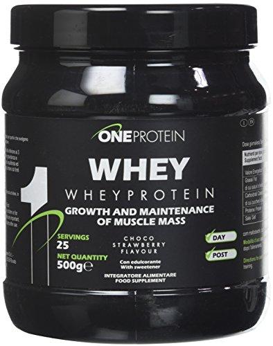One Protein Whey Integratore Alimentare a Base di Proteine del Siero del Latte, Cioccolato Fragola - 500 g