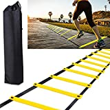H&H 12 Rung Agility Ladder, Agility Training Ladder Speed Training Equipment with Carry Bag, Football Flexibility Training Jumping Ladder (Yellow)