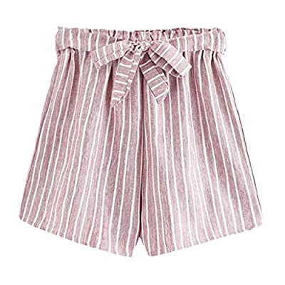 RAINED-Women's Summer Striped Shorts Casual Elastic Waist Self Tie Belt Shorts Wide Leg Pants Beach Shorts
