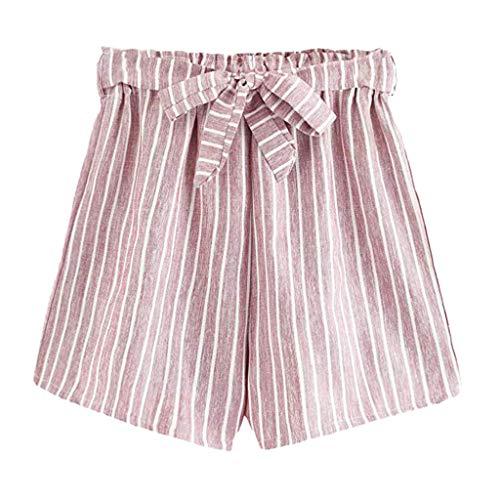 Zaru-Mode Zarupeng gestreepte shorts met riem, vrouwen zomer strandshorts vrijetijdsshorts elastische taille brede broekspijpen korte stoffen broek