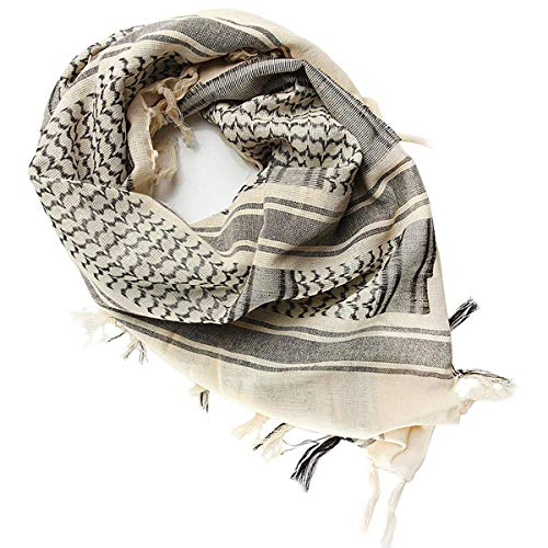 FREE SOLDIER 100% Cotton Military Shemagh Tactical Desert Keffiyeh Head Neck Scarf Arab Wrap with Tassel 43x43 inches(Tan)