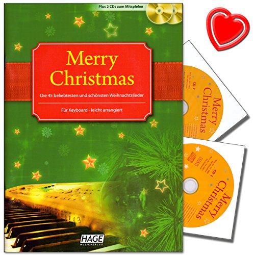 Merry Christmas voor keyboard - 45 populairste en mooiste oude en nieuwe kerstliedjes plus 2 cd's om mee te spelen - met kleurrijke hartvormige muziekklem