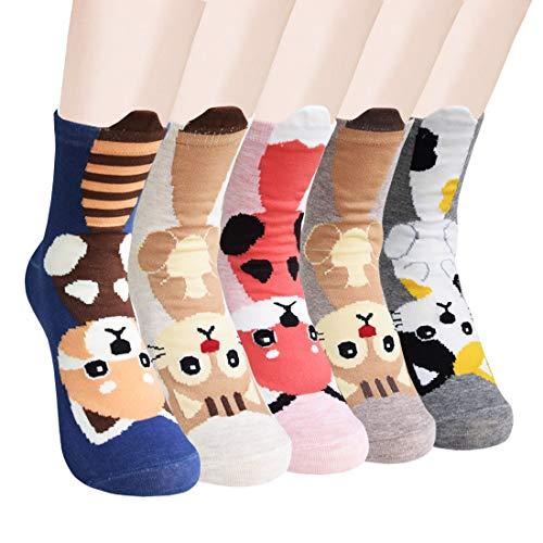 SUNWIND 5 Paar Damen Cartoon Socken Niedliche Tiermuster Socken Warme Waden Baumwollsocken, EU36-40