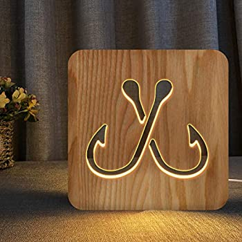 Double Fish Hooks Wooden Carving Night Light Warm White LED Bedside Table Lamp for Home Room Party Decoration Creative Fishing Gifts for Men Dad Boys Boyfriend Fisherman Fish Lovers