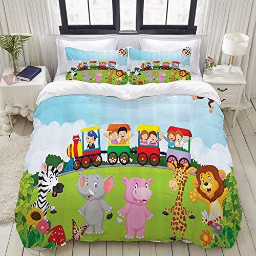 LASINSU Funda De Edredón,Diseño de vivero para niños de Dibujos Animados Niños Felices Tren Choo Choo Ilustraciones de Animales de Safari,3 Pcs Ropa de Cama Funda Nórdica Sábana Bajera (200 * 200CM)