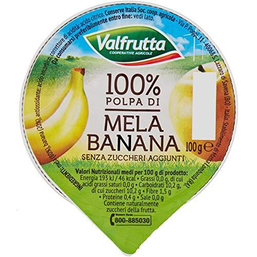 Valfrutta - 100% Polpa di Mela e Banana, senza zuccheri aggiunti e glutine - 60 vaschette da 100 g