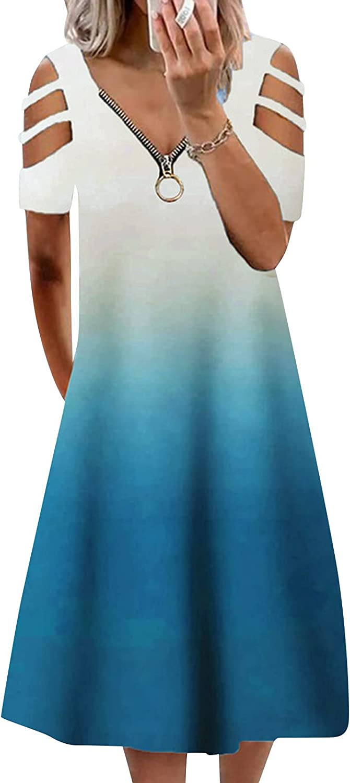 Aiouios Summer Dresses for Women, Womens Gradient V-Neck Cold Shoulder Midi Dress Short Sleeve Cami Dress Sexy Dress