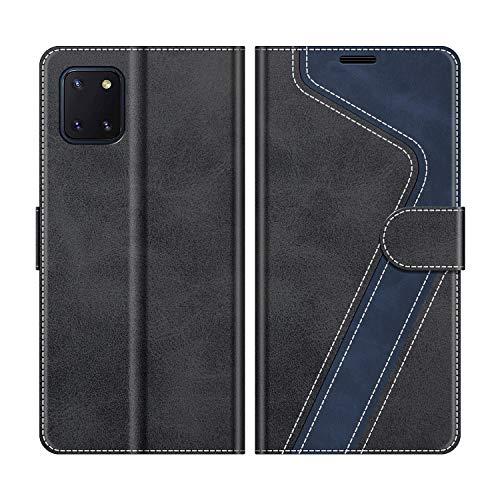 MOBESV Handyhülle für Samsung Galaxy Note 10 Lite Hülle Leder, Samsung Galaxy Note 10 Lite Klapphülle Handytasche Hülle für Samsung Galaxy Note 10 Lite Handy Hüllen, Modisch Schwarz