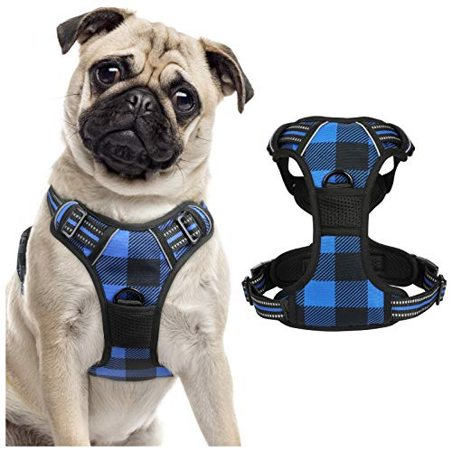 rabbitgoo Dog Harness No Pull, Adjustable Dog Walking Chest Harness with 2 Leash Clips, Comfort Padded Dog Vest Harness with Easy Handle, Reflective Front Body Harness for Medium Breeds, Blue Plaid, M