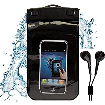 SumacLife Black Beach Water Sport Waterproof Case for LG Sylo 2 Prepaid LG Rebel K7 Xpression 2 Vn251s Conmos 3 Tribute HD and Color Matching Earbud with Mic