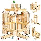 Onshine 60 Teilig Baby Kugelbahn Murmelbahn Holz Holzkugelbahn Bauklötze Bausteine Holzspielzeug Pädagogische Spielzeug für Kinder ab 3 Jahr