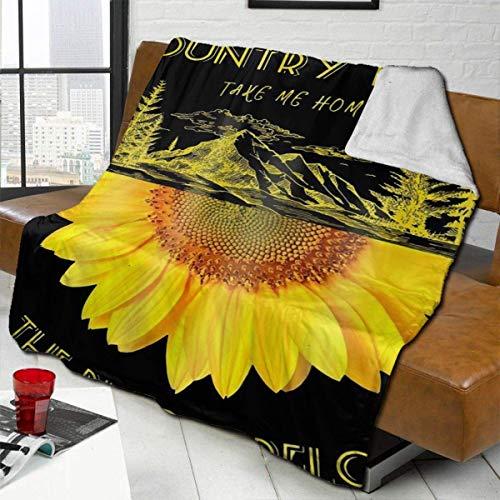 Plüsch Decke Decke Berg und Sonnenblume Outdoor Fleece Teppich Auto Tagesdecke für...