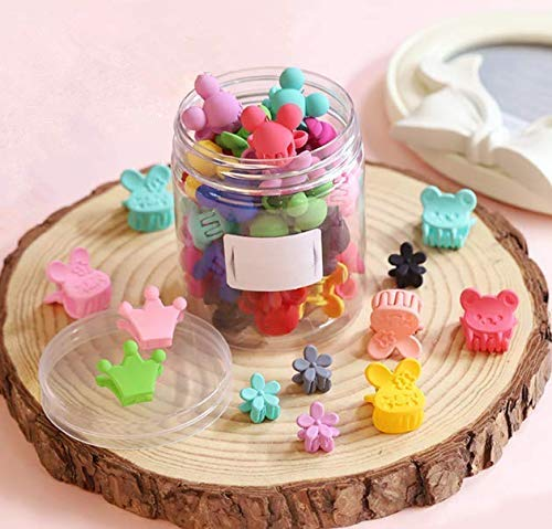 50 Piece Mini Hair Pins, Magnoloran Hair Claw Clip Snap Hair Bows Clips Hairpin Barrettes for Toddlers Baby Girls Kids Children Women Hair Accessories Including Flower, Crown, Rabbit, Bear, Heart Shap