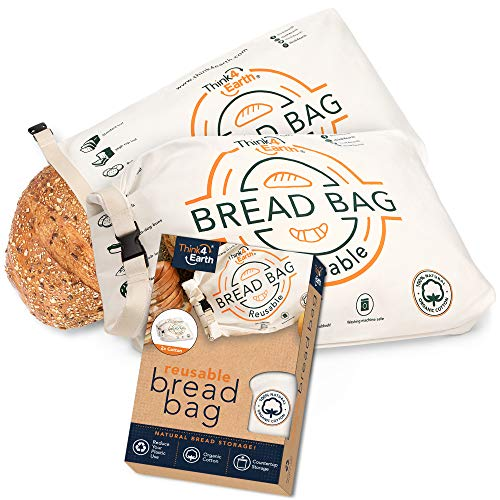 Think4earth – (2 Pack) Cotton Linen Bread Bag Organic - Reusable bread bags for homemade bread gift giving - Bread Container for large Sourdough Loafs – Counter Top Cloth Bread Storage and Transport.