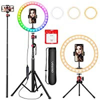 【Dimmable RGB Ring Lights】UEGOGO RGB ring light features 3 normal lighting modes with 11 levels brightness, and 7 static RGB modes plus flash/fade/breath RGB cycle modes, total 43 lighting options to choose from. Comes with 360° mental rotatable trip...